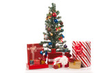 Christmas tree with  many gift boxes