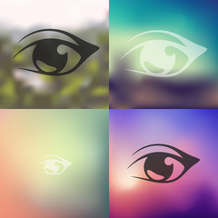 eye icon on blurred background