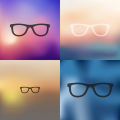 glasses icon on blurred background