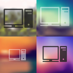 computer icon on blurred background