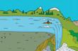 Man in Kayak at Waterfall - 73812747