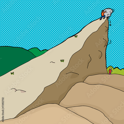 Man Pushing Boulder on Another - 73812702