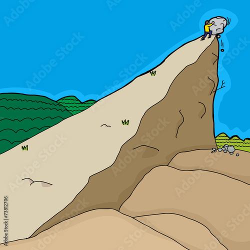 Man Pushing Rocks - 73812706