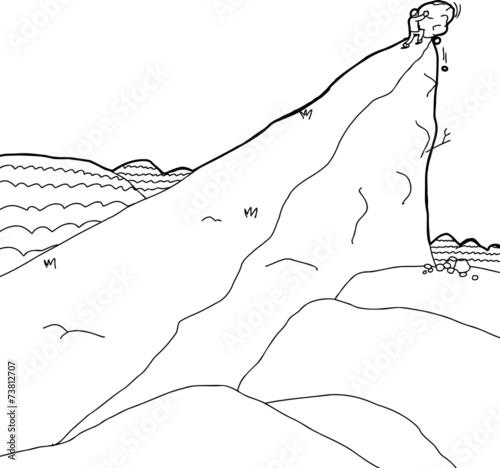 Man Pushing Boulder Up Hill - 73812707