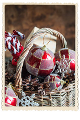Stylization by Vintage Card with Retro Frame. Christmas Gifts