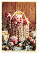 Gifts in Christmas Composition with Presents. Vintage Card. Retr