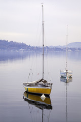Lake Maggiore, yacht moorage in winter. Color image