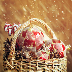 Vintage Christmas Magic Composition with gifts