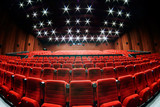 Fototapety Empty movie theater with red seats