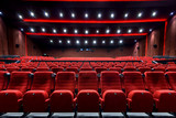 Fototapeta Empty movie theater with red seats