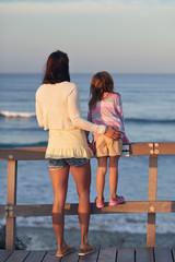mom daughter beach