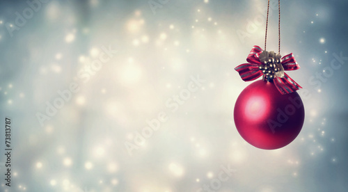 canvas print picture Red Christmas ornament