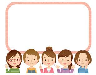 女性グループ 主婦 コピースペース