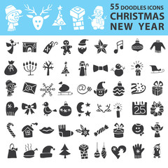Christmas, New Year icons silhouette set