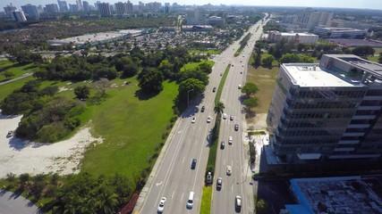 Aerial video of Biscayne Boulevard Aventura FL