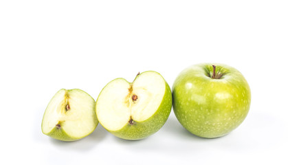 line from various parts of apples - whole, half and quarter