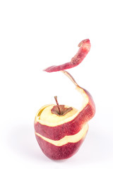spiral peel red apple