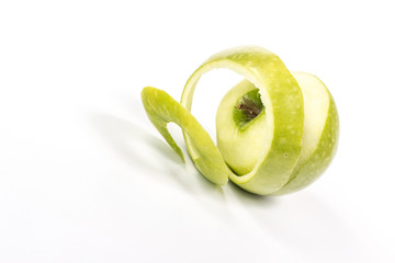 spiral of green apple peel
