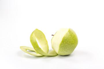 spiral of green apple peel