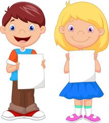 Little kids holding blank paper