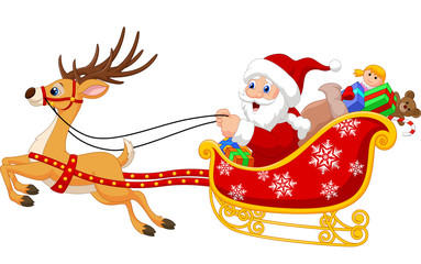 Santa in his Christmas sled being pulled by reindeer