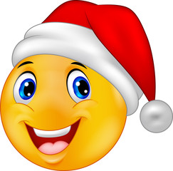 Smiling smiley emoticon in a hat santa