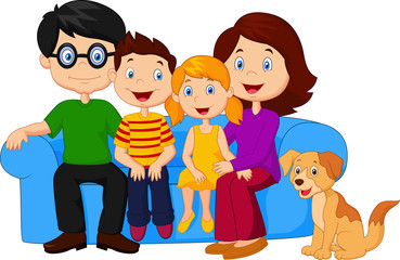 Happy family sitting on sofa