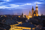 Historic center of Krakow, Poland at night time.