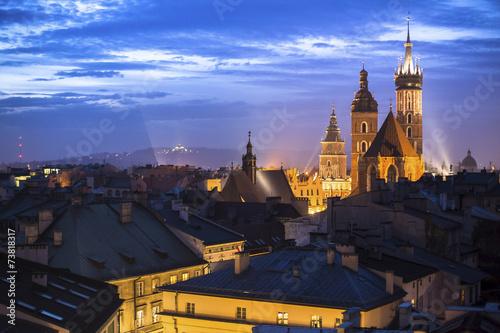 Papiers peints Cracovie Historic center of Krakow, Poland at night time.