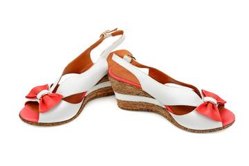 sandals on white background