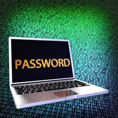 Laptop Passwort blau grün