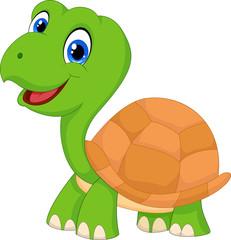 Cute cartoon green turtle