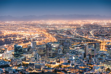 Aerial view of Cape Town from Signal Hill after sunset