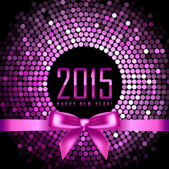 Vector Happy New Year 2015 background with disco lights and ribb