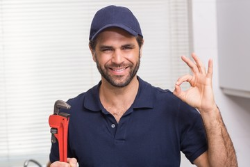 Casual plumber smiling at camera
