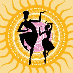 Mandala. Indian dancers silhouettes.