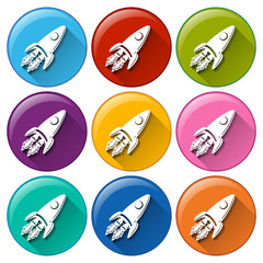 Buttons with rockets