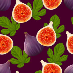 Fruity seamless pattern with figs fruit and leaves