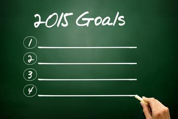 Hand drawn 2015 Goals concept, blank list on blackboard