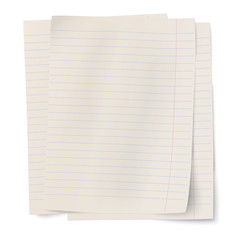 Stack of notebook paper sheets isolated
