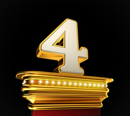 Number Four on golden platform over black background