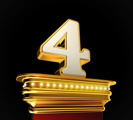 Number Four on golden platform over black background