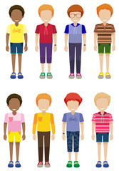 Eight faceless kids standing