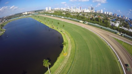Aerial video of a horse race track