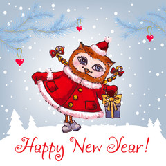 Happy New Year greeting card with cute owl in winter hat Vector