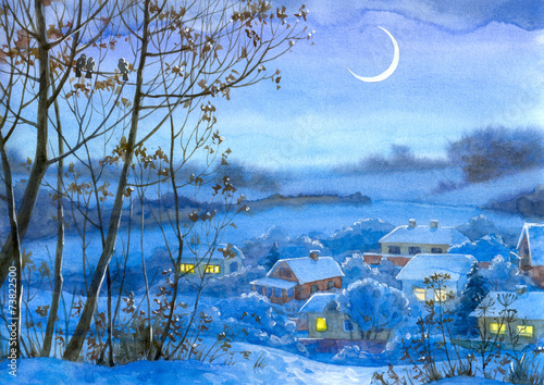 Watercolor landscape. Lighted windows in homes - 73822500