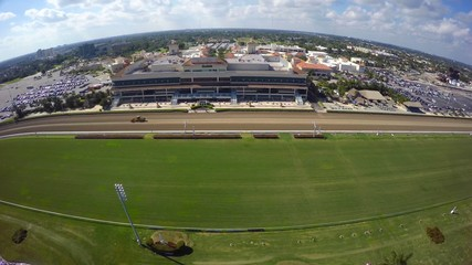 Horse race track aerial video