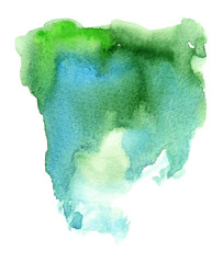 Green and blue watercolor stain