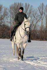 Young woman riding a horse through winter woodland