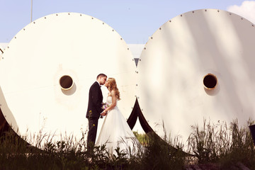Bride and groom posing on architectural background
